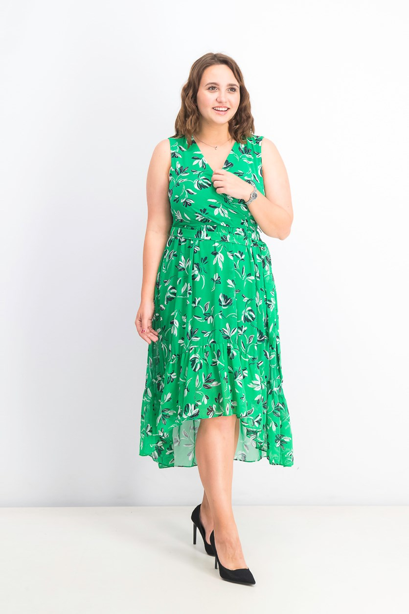 Petite Flounce-Hem Midi Dress, Green Combo