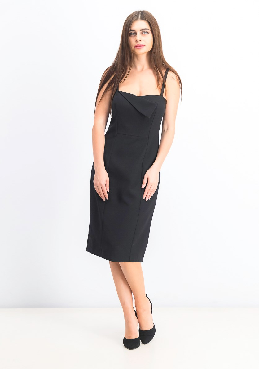 Women's Envelope-Neck Bodycon Dress, Black