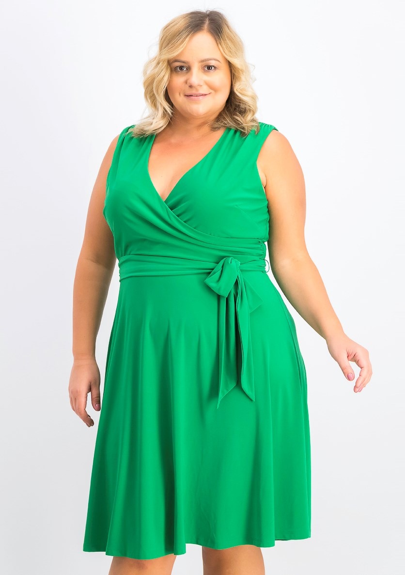 Women's Plus Size Surplice Wrap Dress, Green