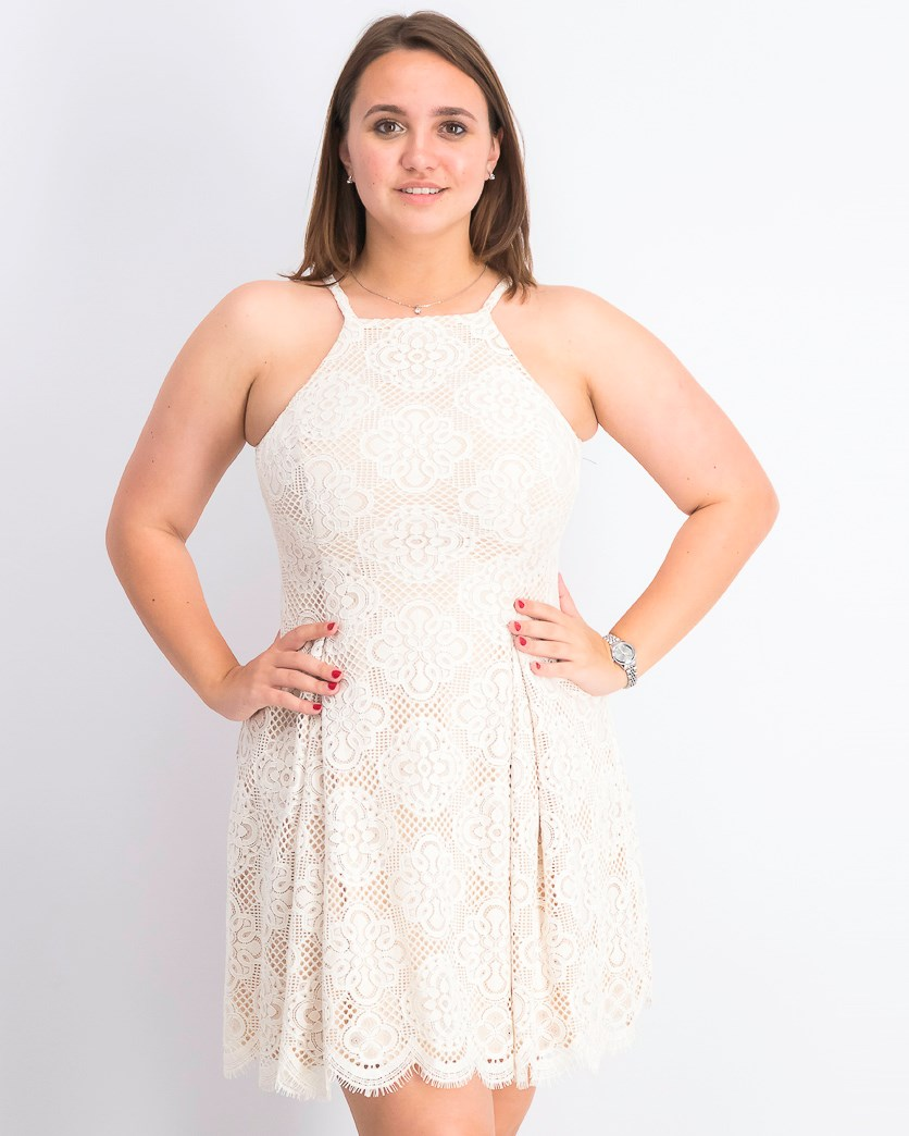 Women's Lace Halter Fit & Flare Dress, Ivory