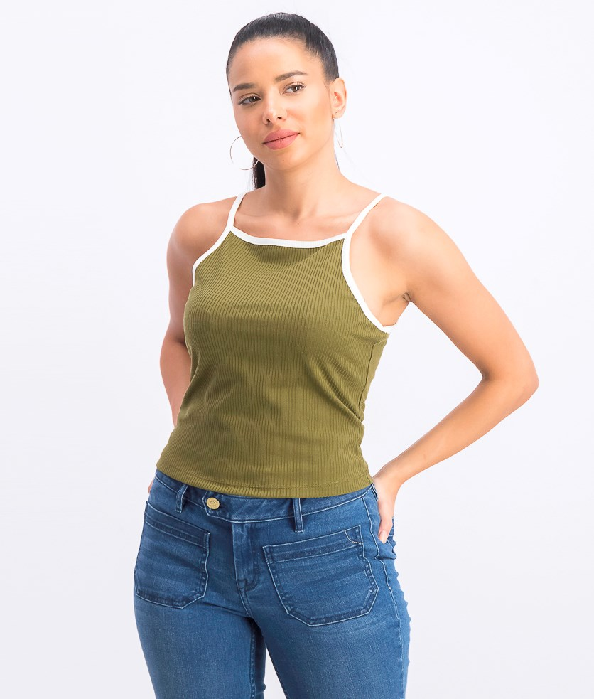 Juniors' Ribbed Tank Top, Olive