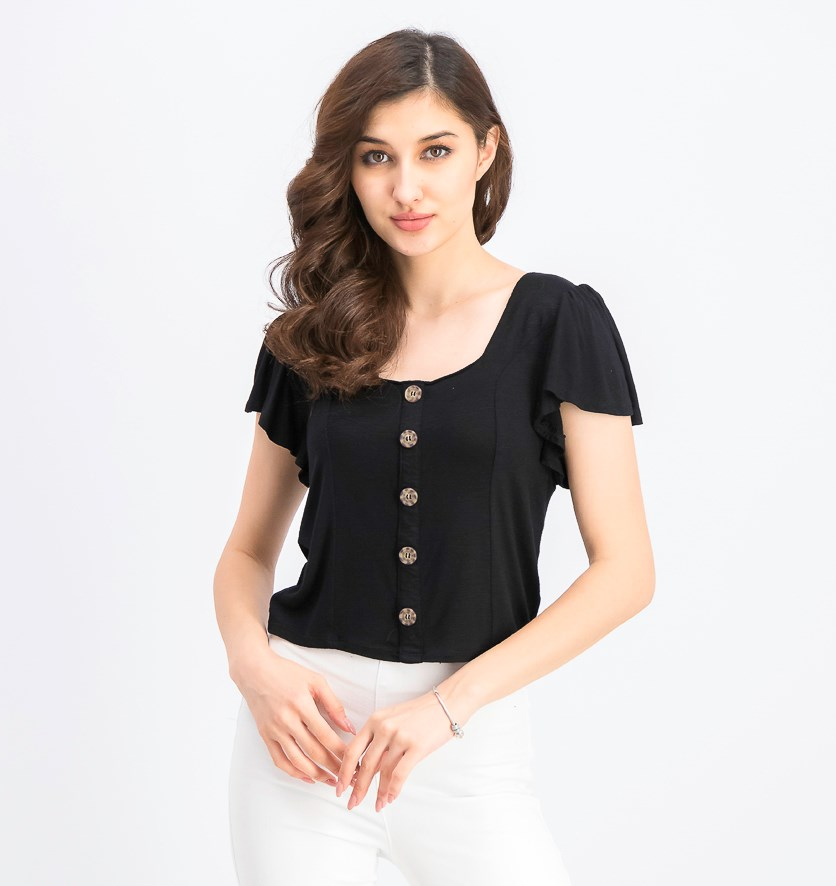 Juniors' Flutter-Sleeve Top, Black