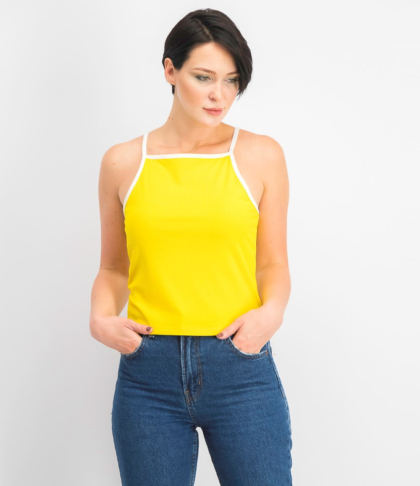 Juniors' Ribbed Tank Top, Yellow