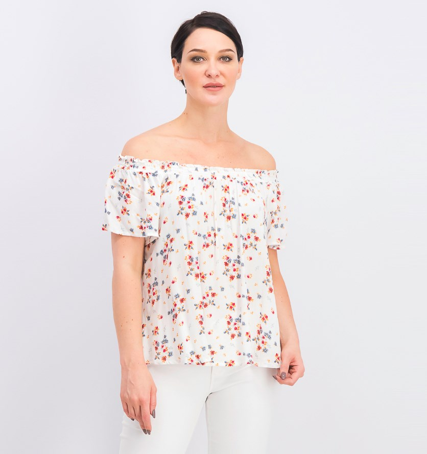 Juniors' Printed Off-the-Shoulder Peasant Top, White Combo