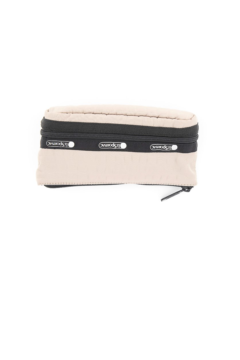 Women's Collette Small Expandable Cosmetic Case, Black/Beige