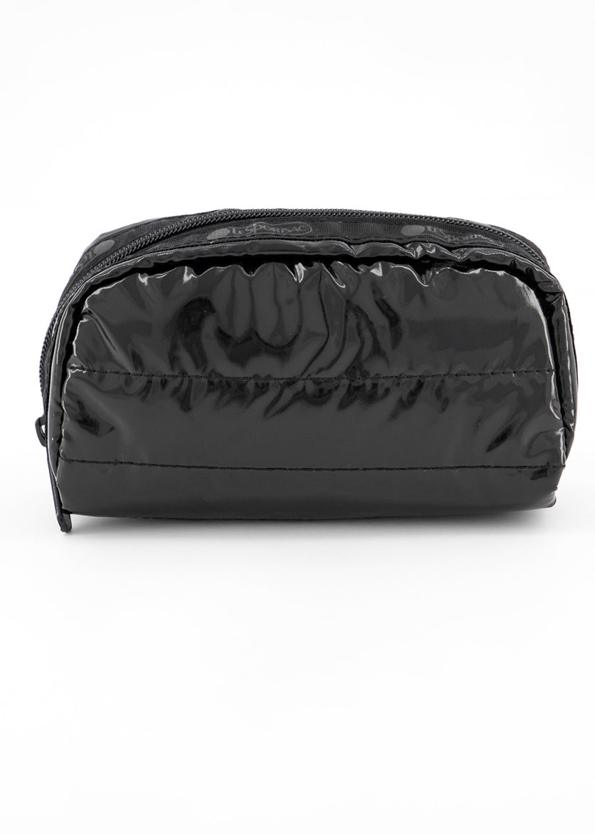 Candace Small Top Zip Cosmetic Case, Black Patent