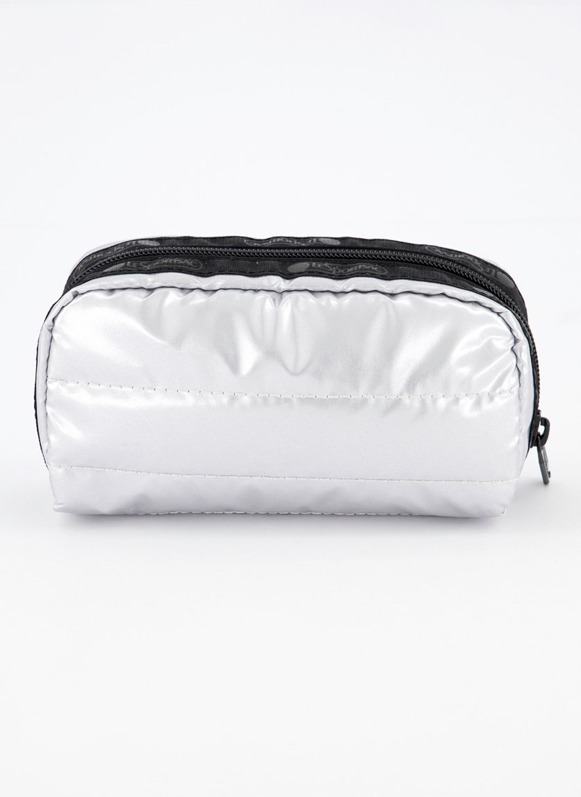Candace Small Top Zip Cosmetic Case, Silver Patent