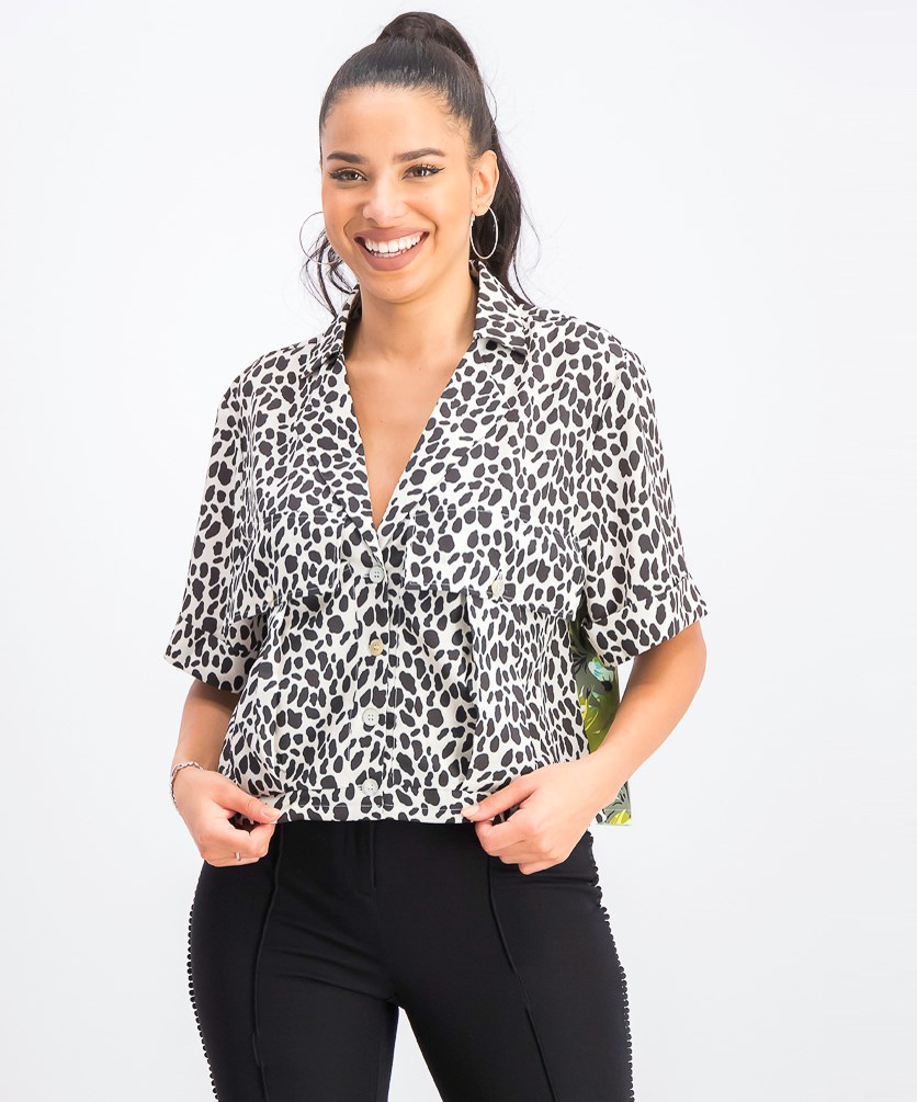 Women's Cropped Mixed Print Shirt, Floral/Animal