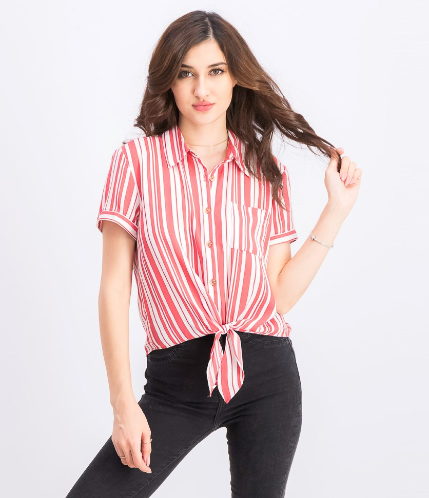 Juniors' Striped Tie-Front Camp Shirt, Apricot