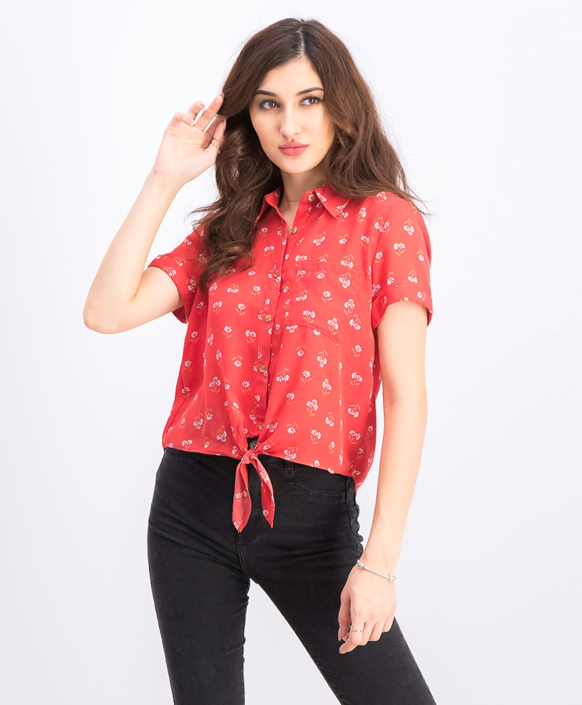 Women's Juniors' Printed Tie-Front Camp Shirt, Red Ditsy
