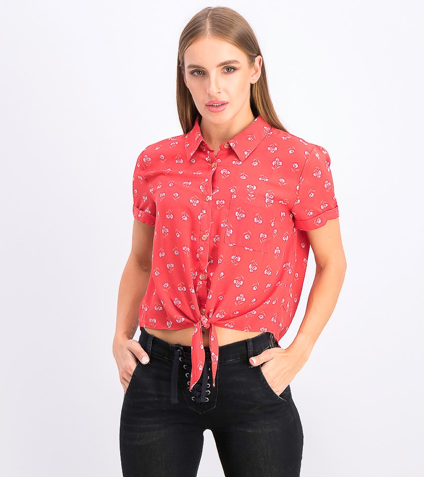 Juniors' Printed Tie-Front Camp Shirt, Red Dusty