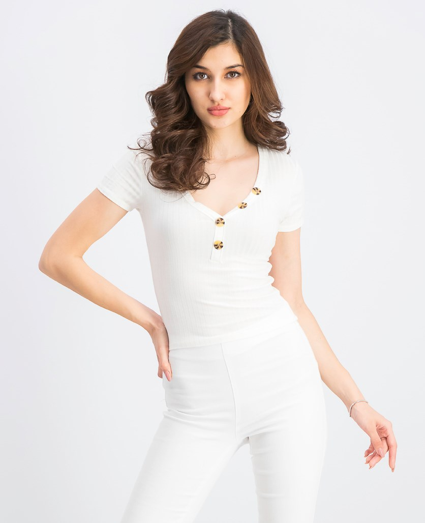 Women's Juniors' V-Neck Button Ribbed Top, Ivory