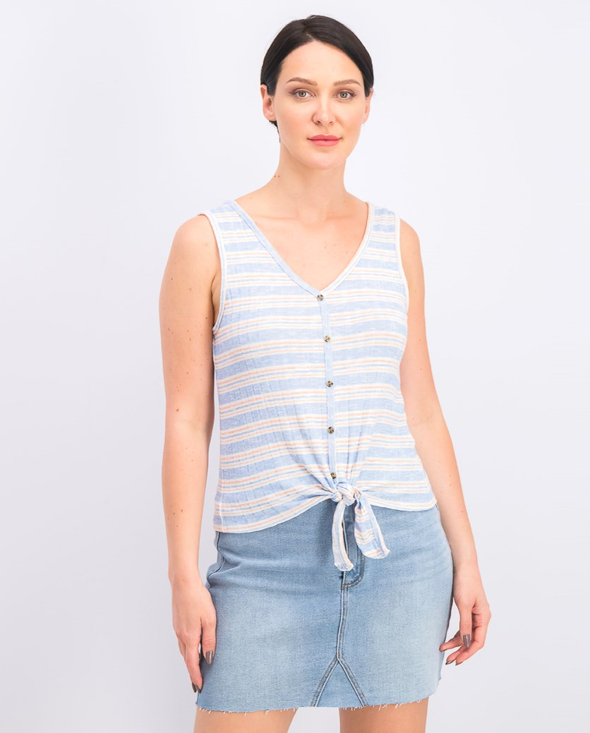 Juniors' Striped Rib-Knit Tie-Front Tank Top, Blue/Shrimp Stripe