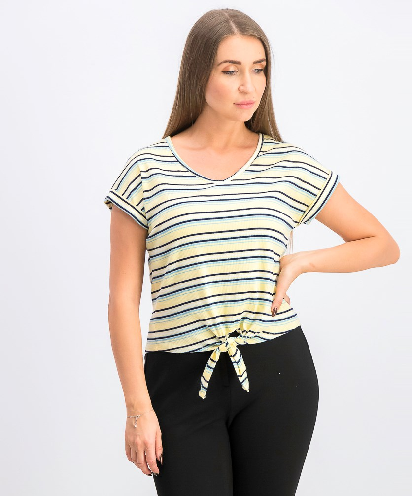 Womens Juniors' Tie-Front T-Shirt, Yellow Stripe