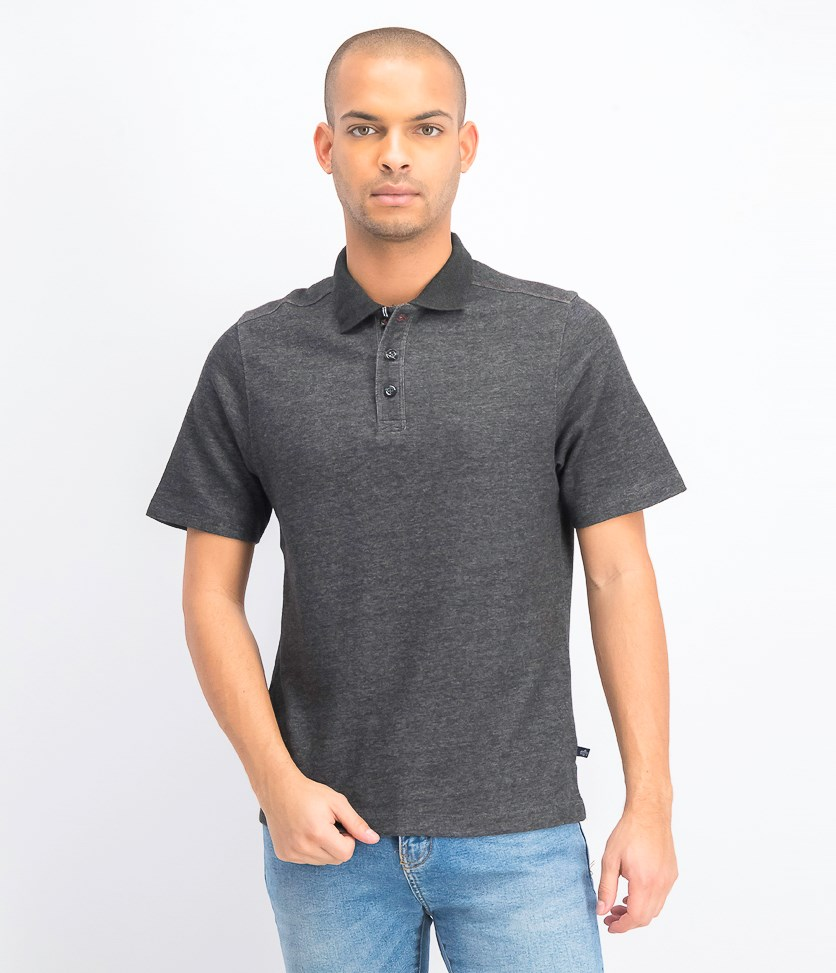 Men's Interlock Polo Shirt, Charcoal