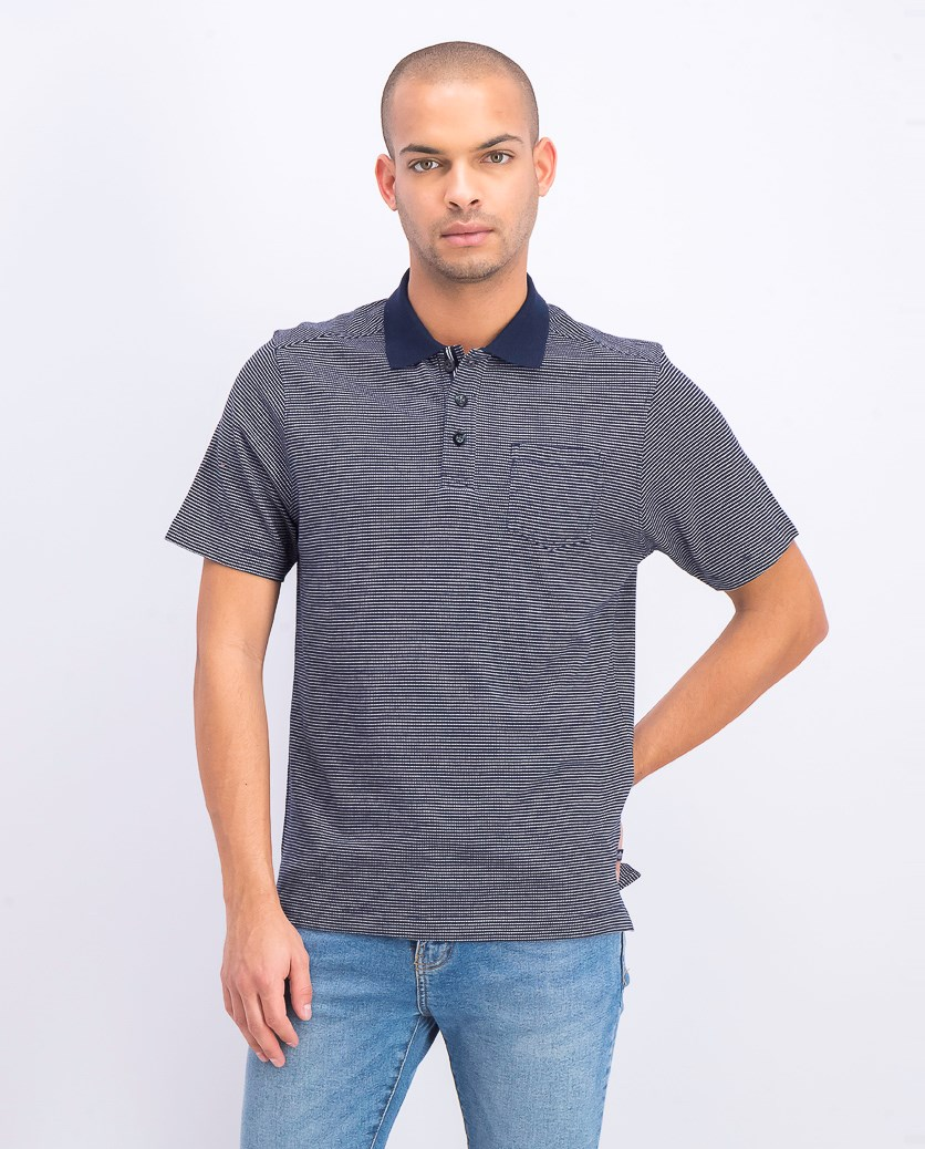 Men's Textured Knit Collar Polo Shirt, Navy