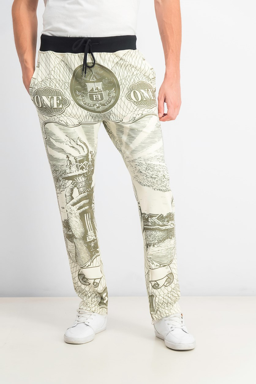 Men's Currency Graphic Print Track Pants, Olive/Beige