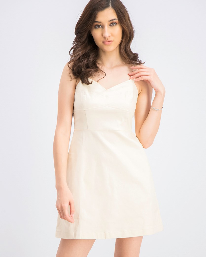 Women's Sleeveless Bustier Dress, Cream