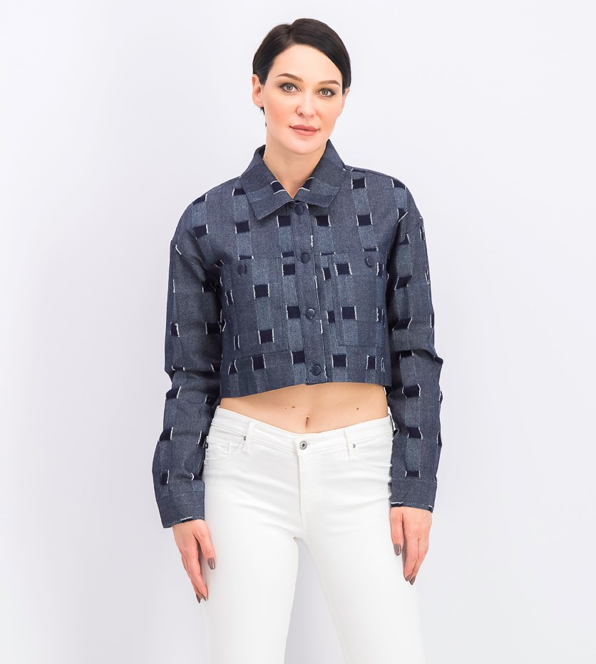 Women's Cropped Checkered Jacket, Midnight Blue