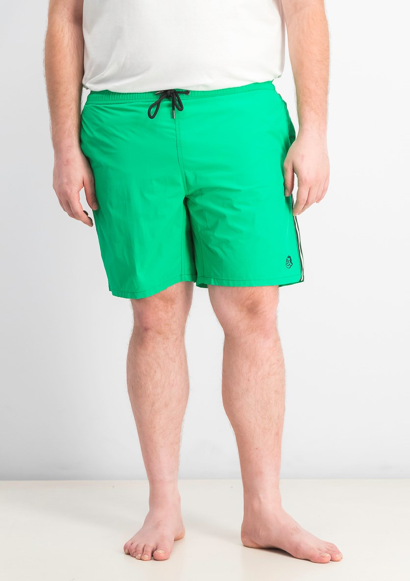 Men's Solid With Side Tape Swimwear Trunks, Green