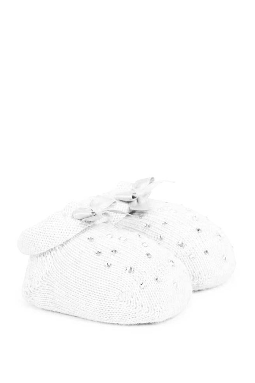 Baby Girl's Knit Crib Shoes, White