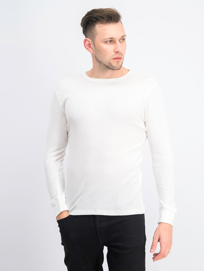 Men's Thermal Knit Waffle Longsleeve Shirt, White