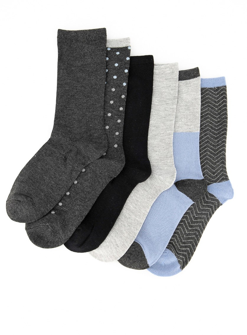 Women's 6 Pairs Fashion Crew, Grey/Blue/Black Combo