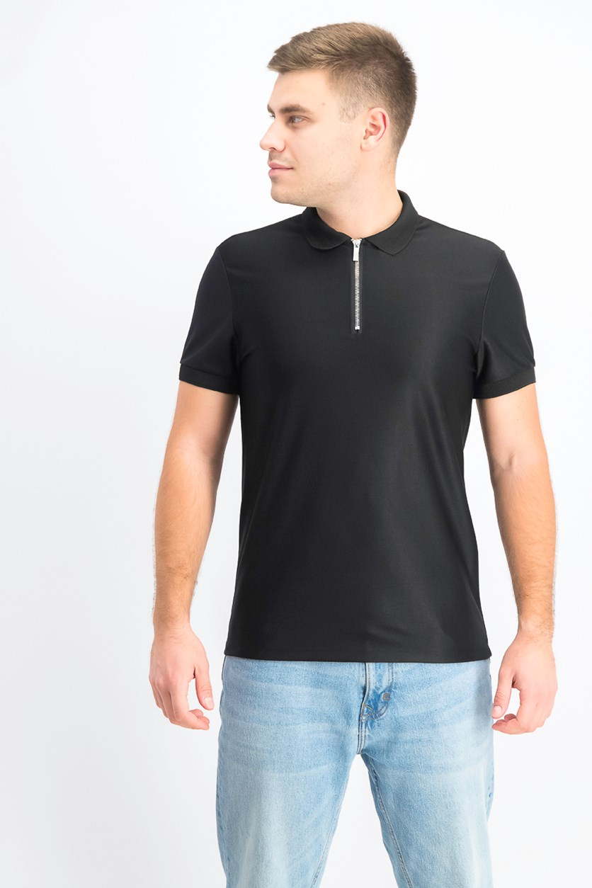 Men's Knit Polo Shirt with Zip, Black