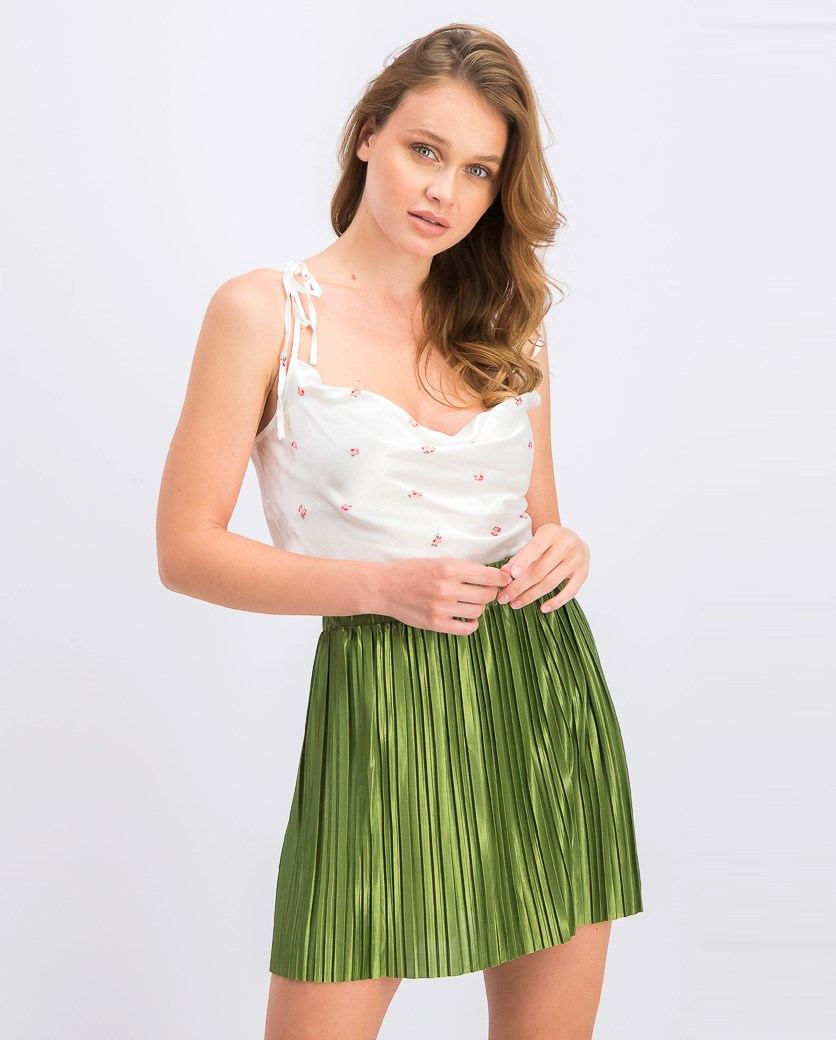 Women's Printed Cropped Top, White Combo