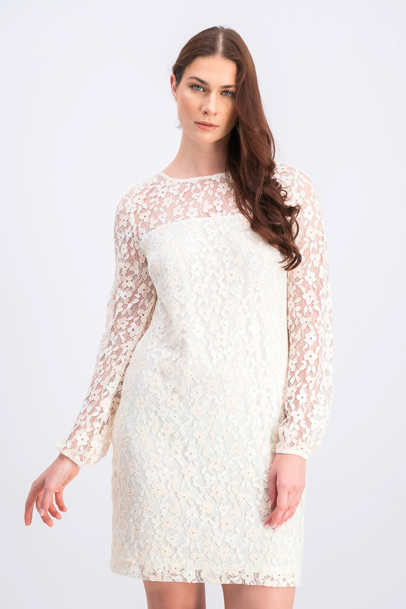 Women's Floral-Lace Dress, White/Rose