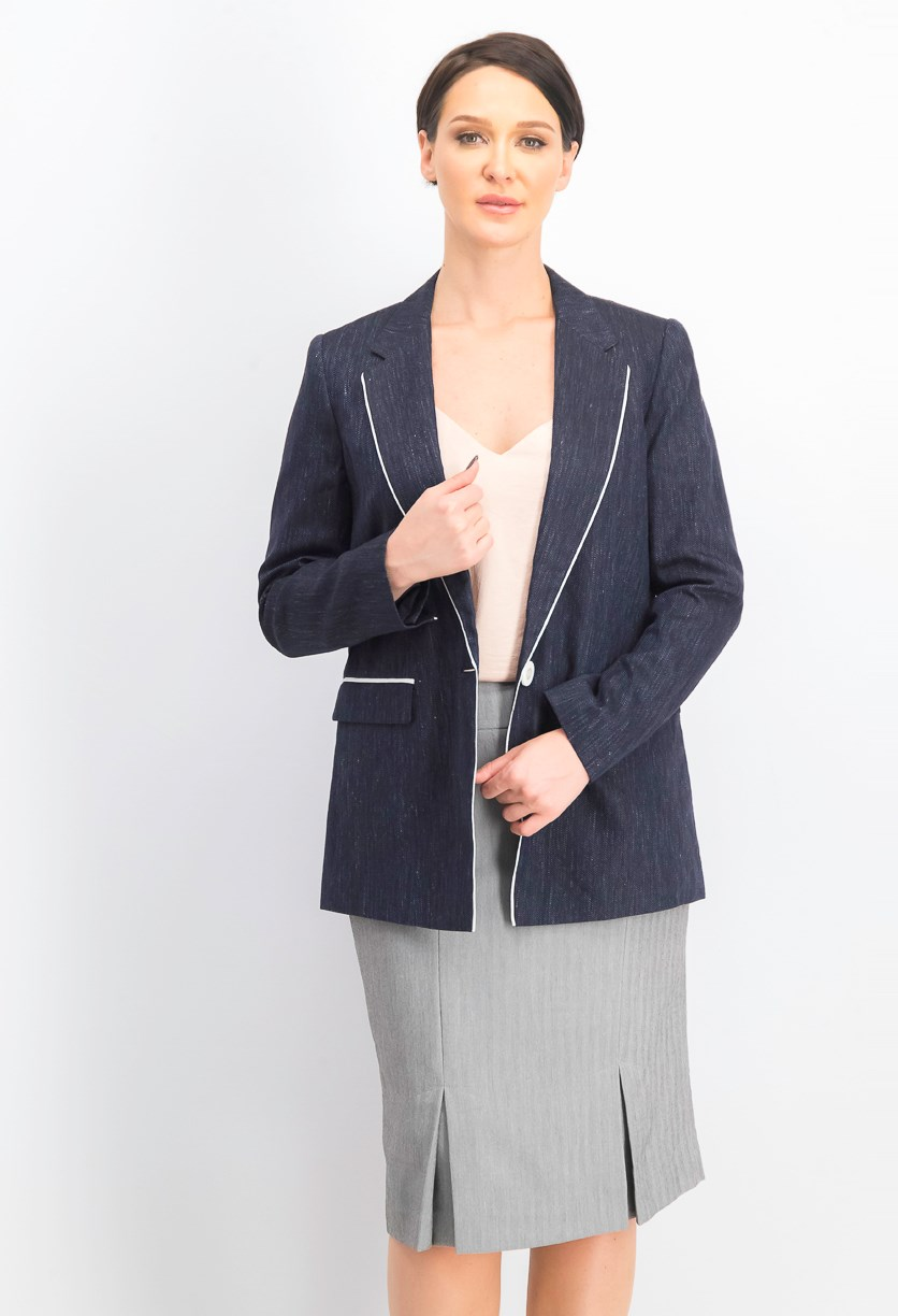 Women's Rhoda Linen Textured One-Button Blazer, Ink Navy