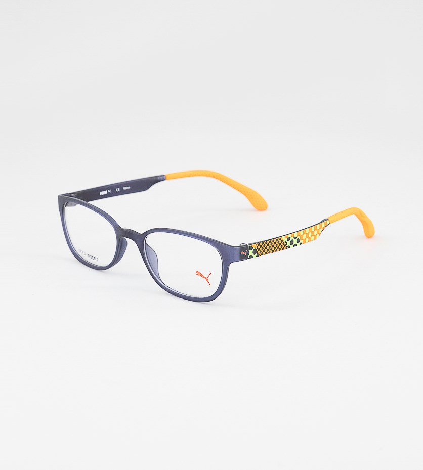Kid's Boys PU15438 Full Rim Eyeglasses Frame, Black/Orange/Blue
