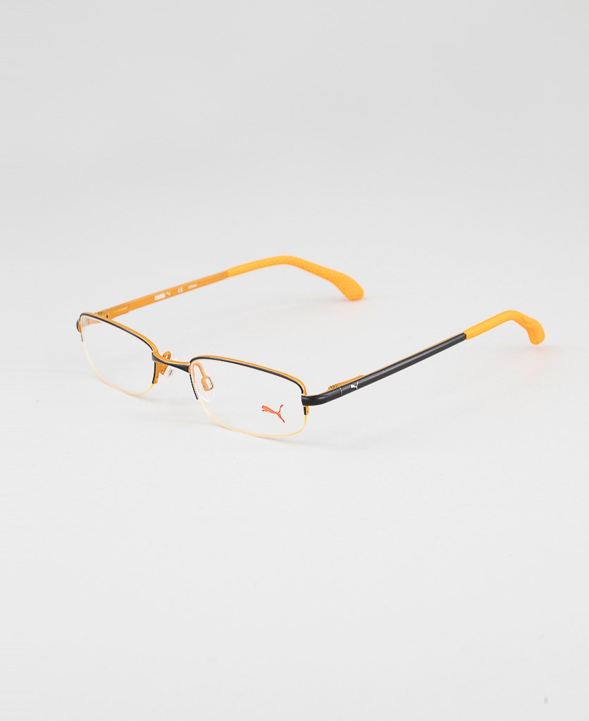 Kid's Boys PU15447 Half Rim Eyeglasses Frame, Black/Orange