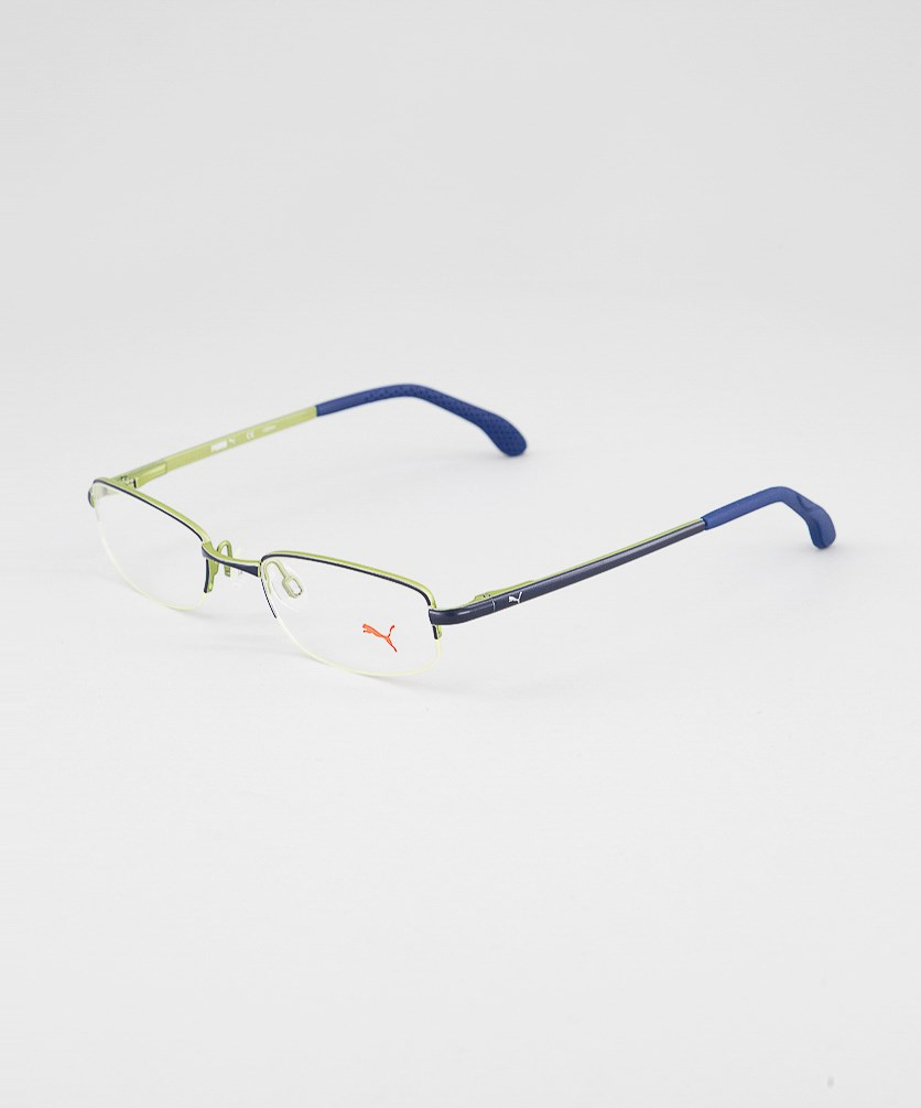 Kid's Boys PU15447 Half Rim Eyeglasses Frame, Navy/Green