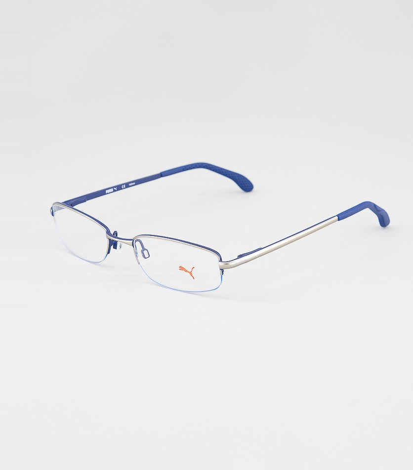 Men's PU15447 Half Rim Eyeglasses Frame, Blue