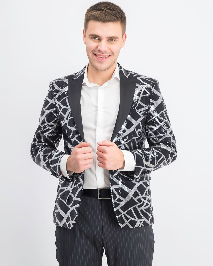 Men's Slim-Fit Sequin Dinner Jacket, Silver/Black