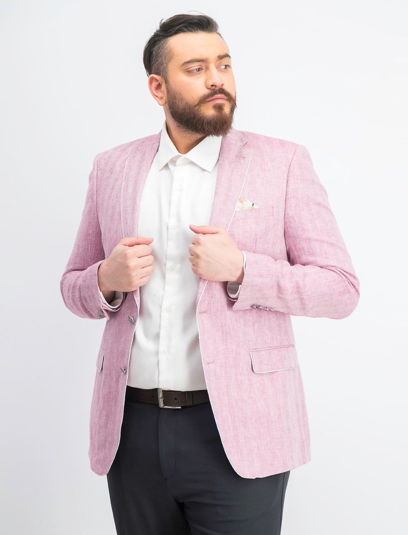 Men's Slim-Fit Herringbone Linen Coat, Pink/White