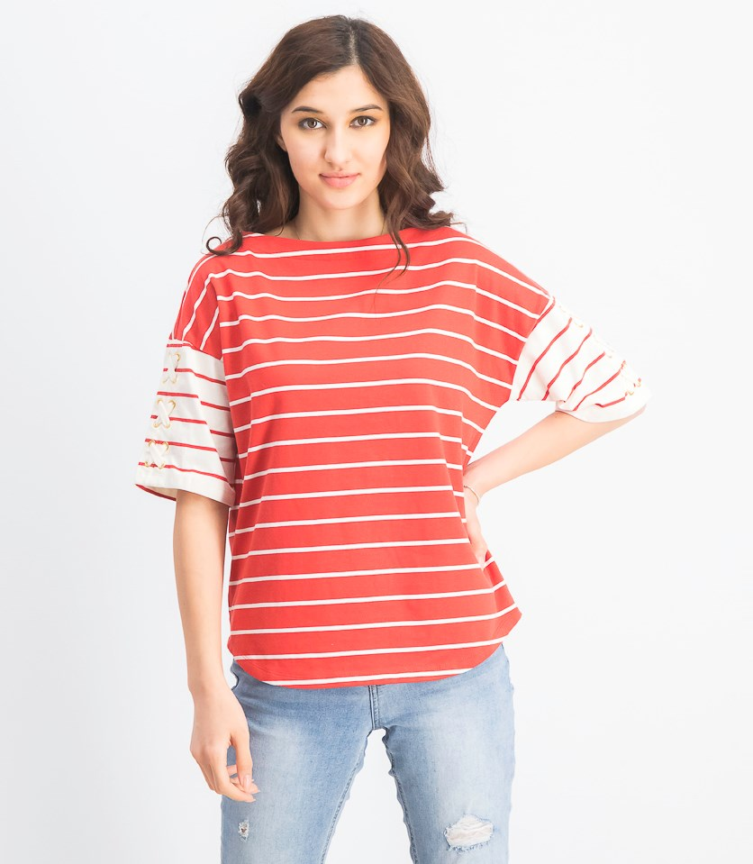 Women's Stripe-Print Lace-up Sleeve Cotton Top, Red/White