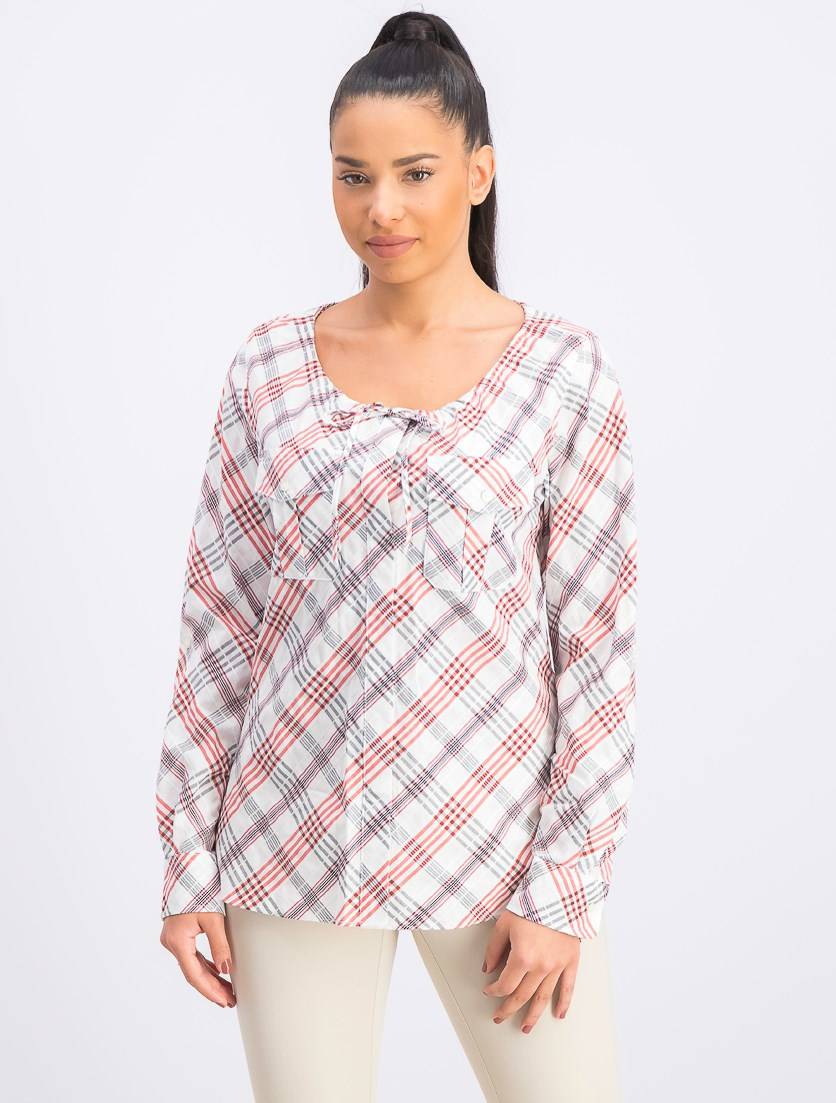 Women's Plaid-Print Tie-Neck Top, Canyon Red Combo