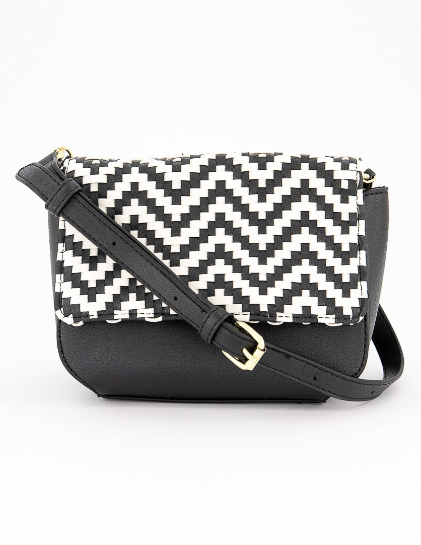 Woven Shoulder Bag, Black/White