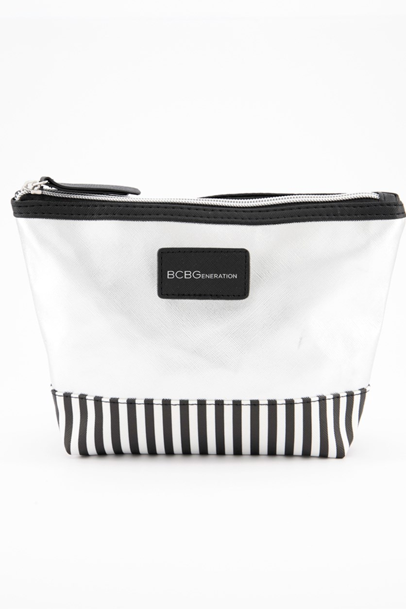 Women's Small Top Zip Pouch, Silver