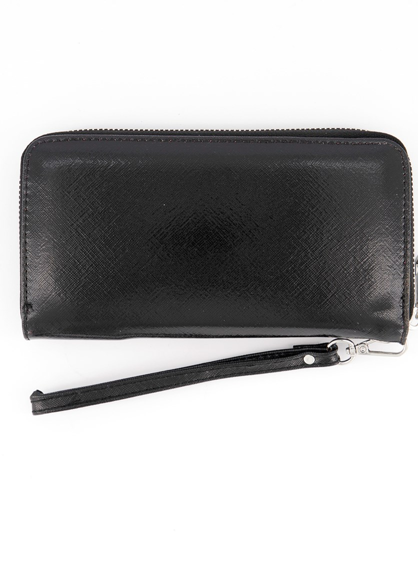 Women's Kalina Wallet, Metallic Black Saffiano