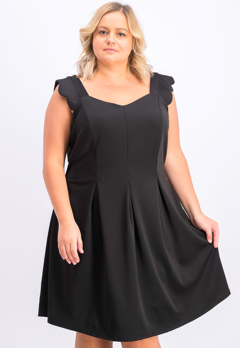 Women's Trendy Plus Size Scalloped A-Line Dress, Black