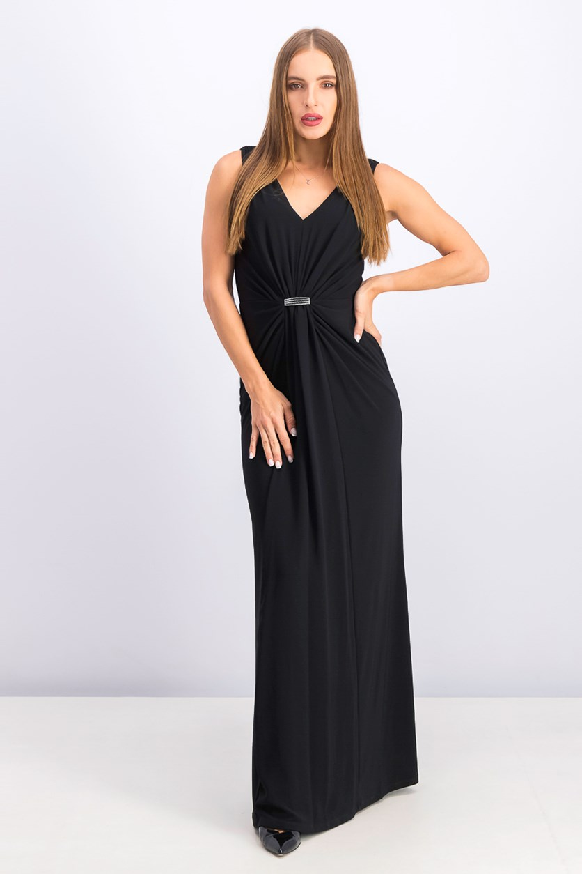 Women's Ruched Jersey Gown, Black