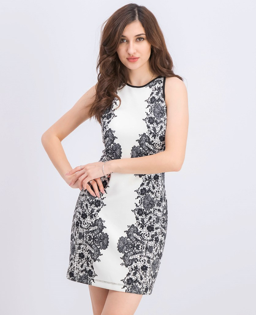 Printed Bodycon Dress, Off White/Black
