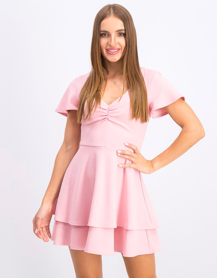 Juniors' Ruched Tiered Fit & Flare Dress, Blush Kiss