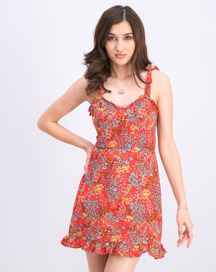 Juniors' Floral-Print Ruffled Dress, Red Orange/Yellow Combo
