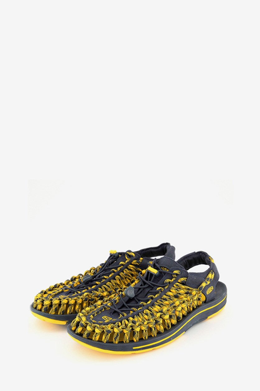 Men's Uneek Slip-On Slides, Midnight Navy/Spectra Yellow