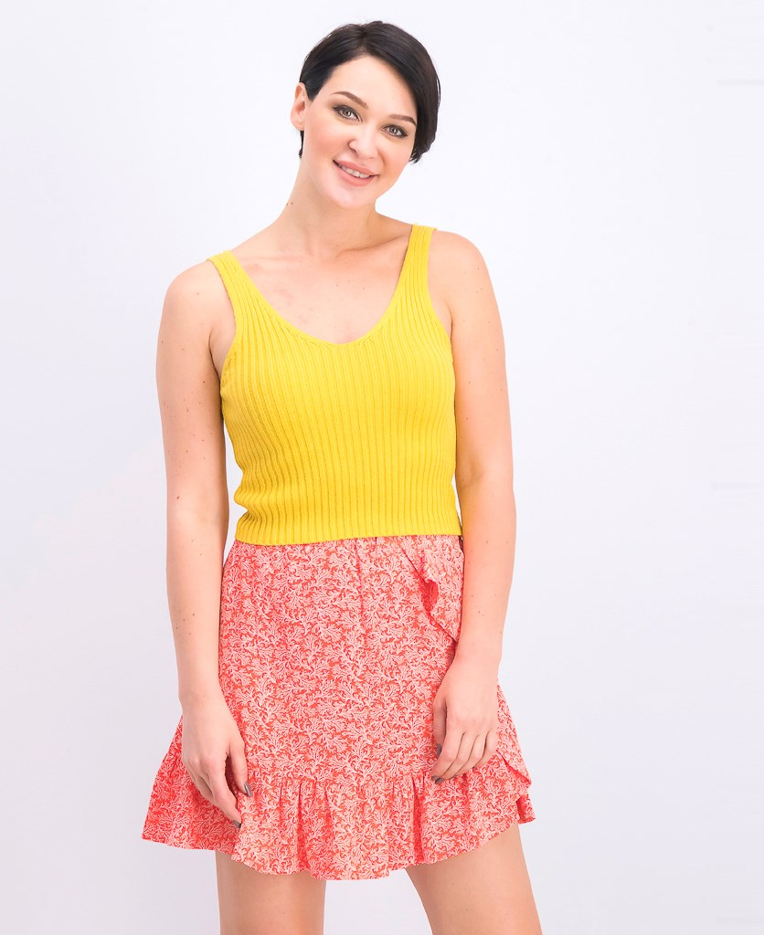 Women's Ribbed Knit Cropped Tank Top, Yellow
