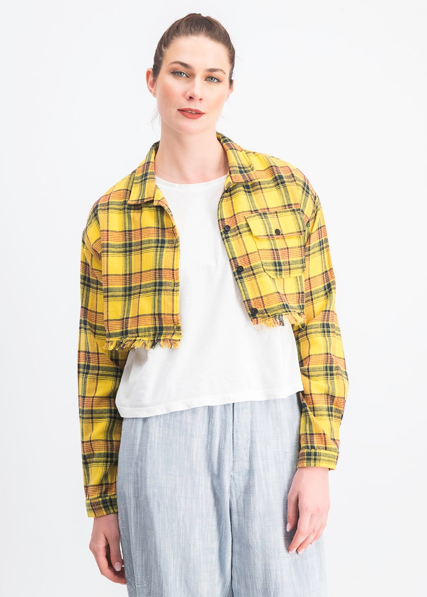 Women's  Cropped Plaid Button Down Shirt, Mustard